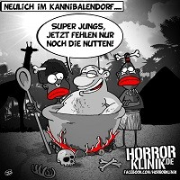HK-Cartoon: Neulich bei den Kannibalen