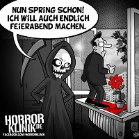 HK-Cartoon: Nun spring schon!