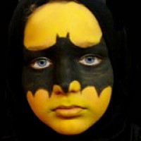Kinderschminken: Batman an Halloween