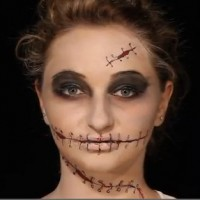 Schminken zu Halloween: Spannendes Nahtgesicht &#8211; Make-up leicht gemacht