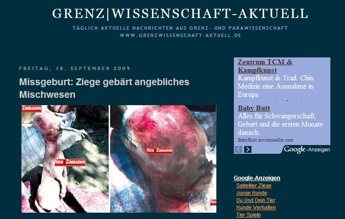 Screenshot: http://grenzwissenschaft-aktuell.blogspot.com/search?q=mischwesen